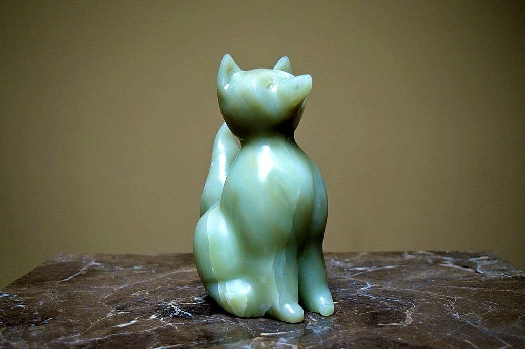 light green soapstone carved fox figurine