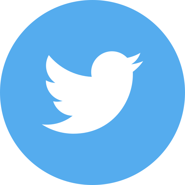 light blue circle with bird image twitter logo click link