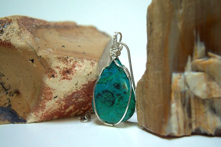 green blue silver wire wrapped gemstone pendant