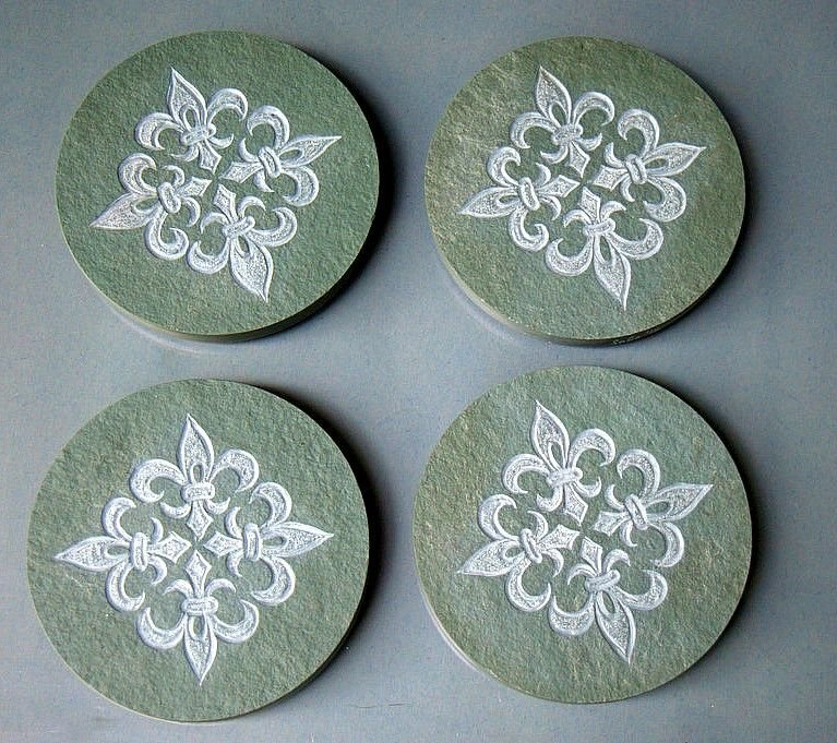 round shape hand carved slate stone drink coasters