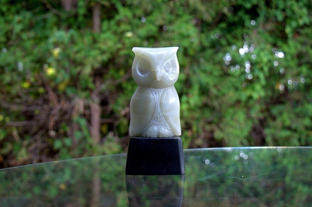 light green stone owl abstract figurine
