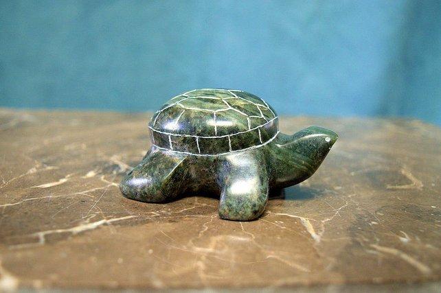 small green soapstone turtle figurine for desktop