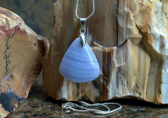 triangle shape blue gemstone pendant and necklace