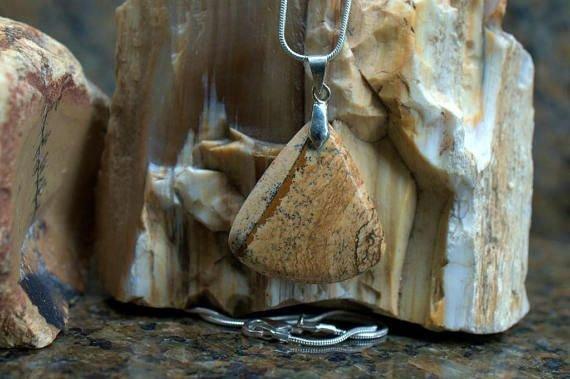 landscape image like jasper stone pendant