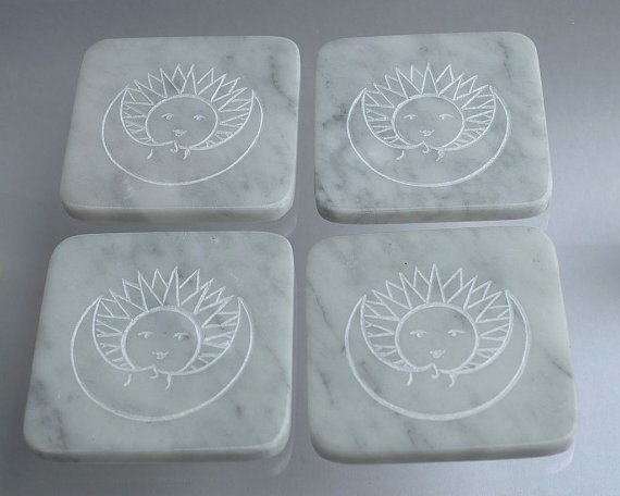 white square shape marble coasters with fantasy design