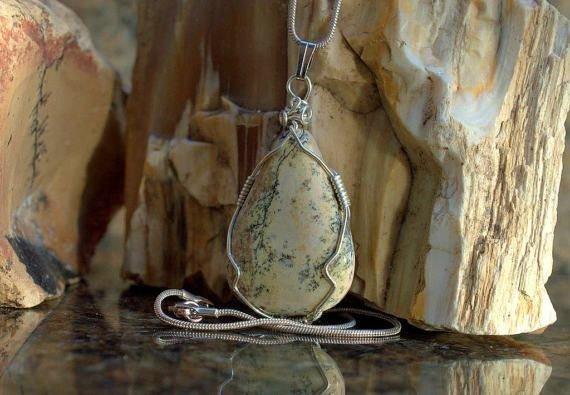 beige lizard skin look loke mineral pendant
