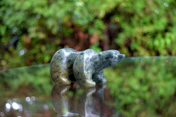 green soapstone small size cute bear figurine