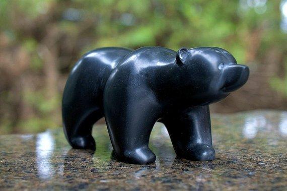 black stone free standing walking bear figurine