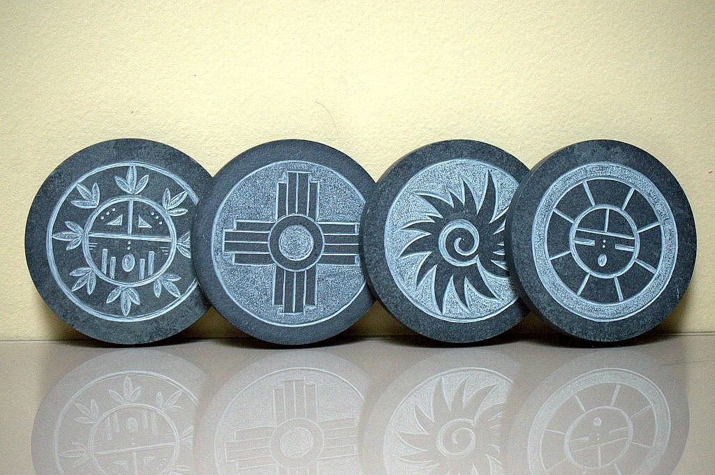 round shape black stone coasters with hand carved design