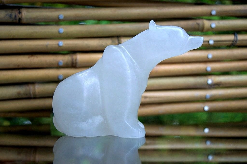 white translucent stone polar bear figurine carving