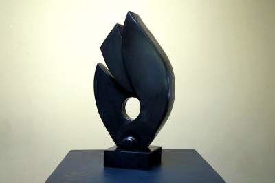 free standing black stone abstract sculpture
