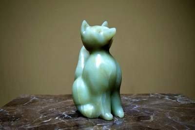 light green soapstone hand carved fox figurine