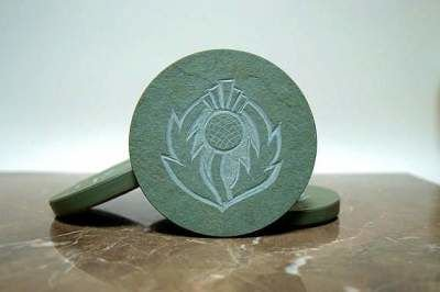 round shape green stone carved coasters