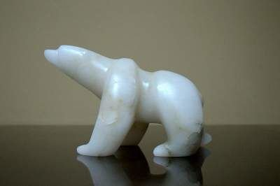 white small size stone polar bear figurine