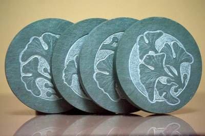 gingko leafs designed carved stone coasters