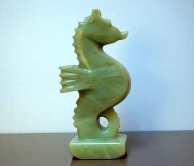 light green soapstone standing seahorse sculpture