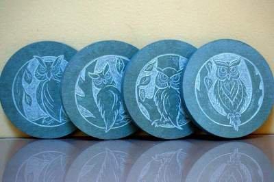 four owls designed stone coaster set
