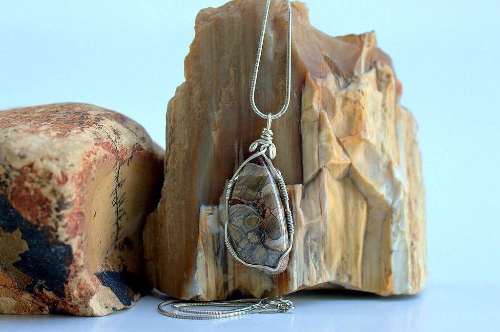 Mushroom Rhyolite silver wired gemstone pendant