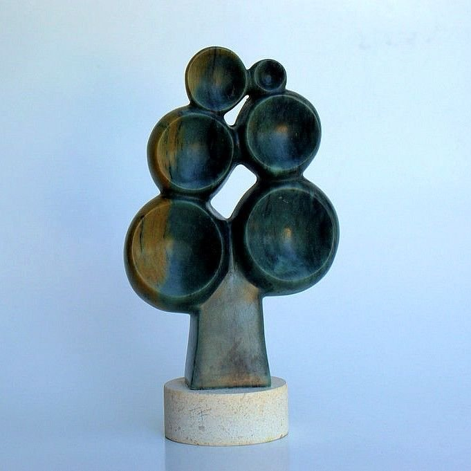 tree stone carving,green soapstone sculpture