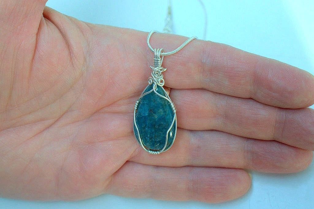 silver set blue crystal, Apatite necklace gemstone pendant