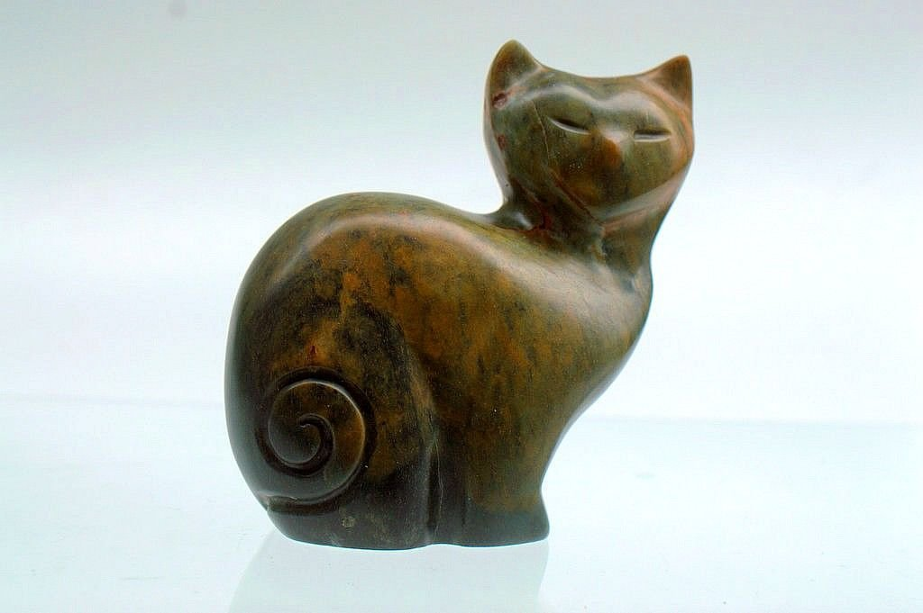 Sitting soapstone cat, abstract figurine