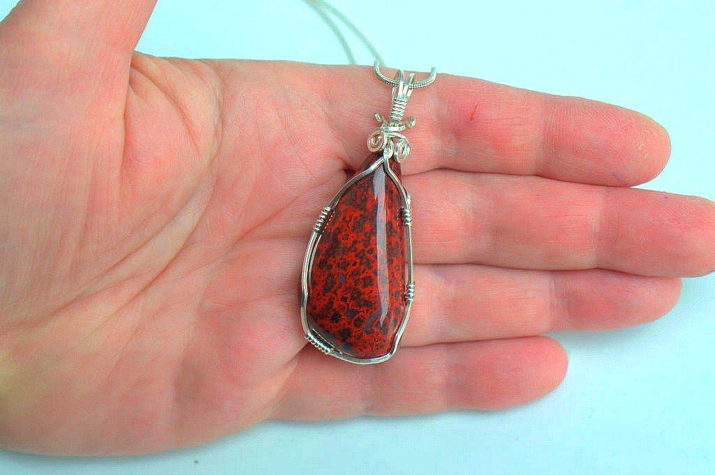 Silver set Red Jasper, hand polished gemstone