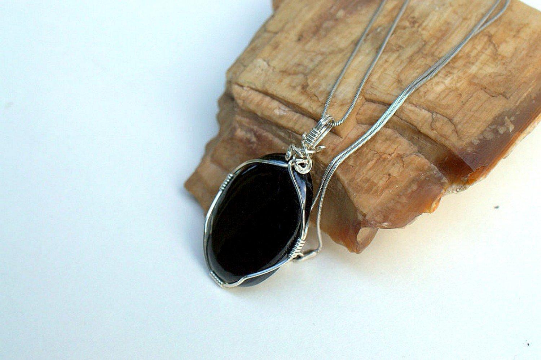 Negative energy blocker Black Tourmaline pendant necklace