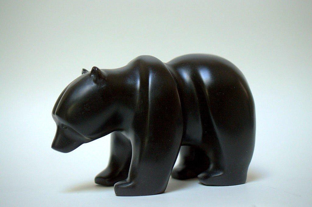 Bear figurine, black Wonder stone carving.