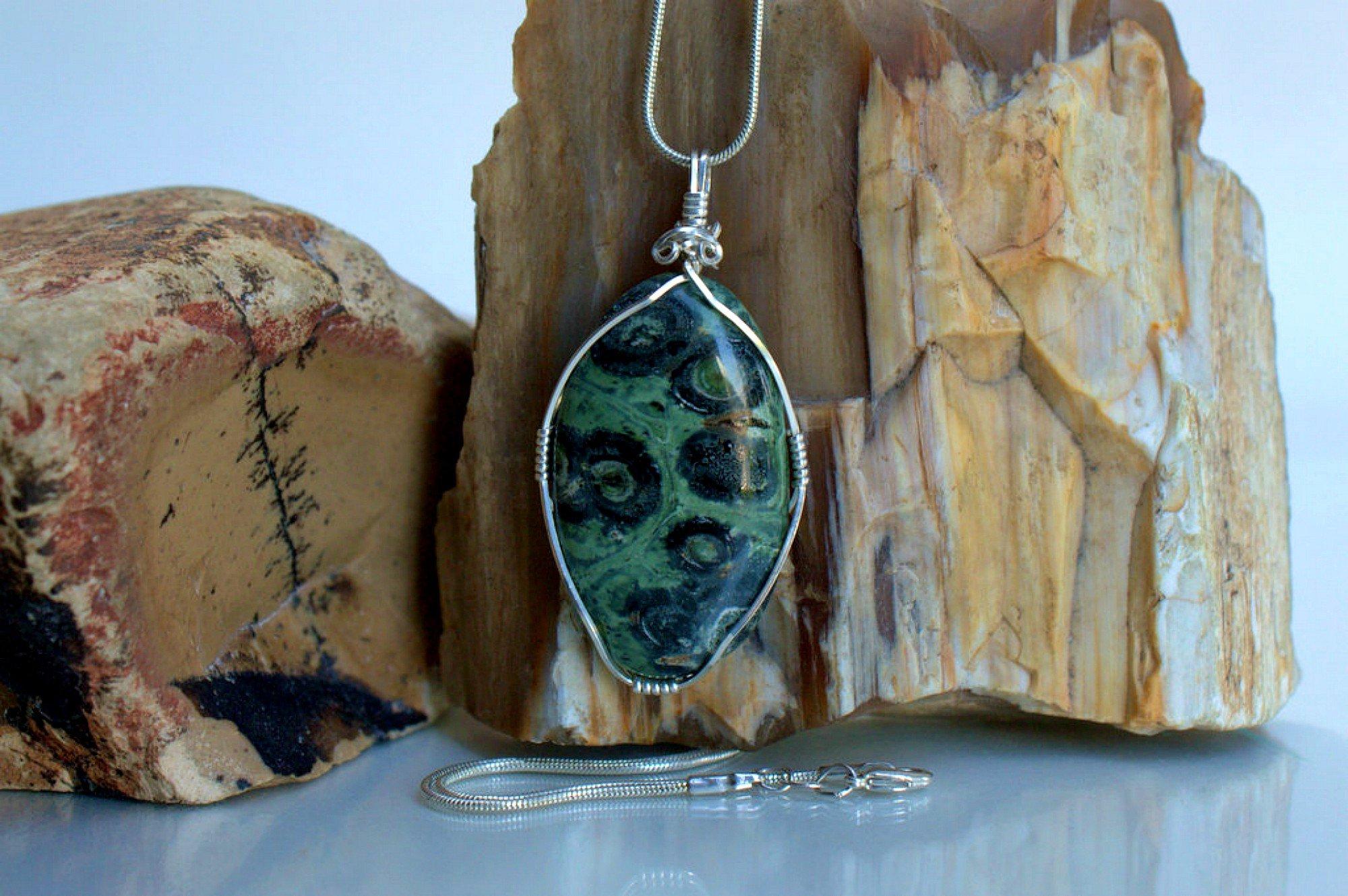 Nature green stone, Kambaba Jasper pendant, handmade jewelry