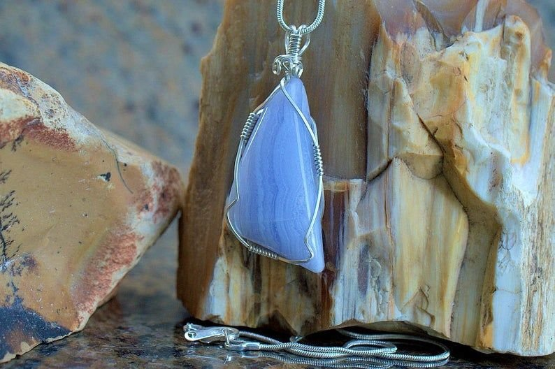 Baby blue agate necklace, large stone pendant in silver setting