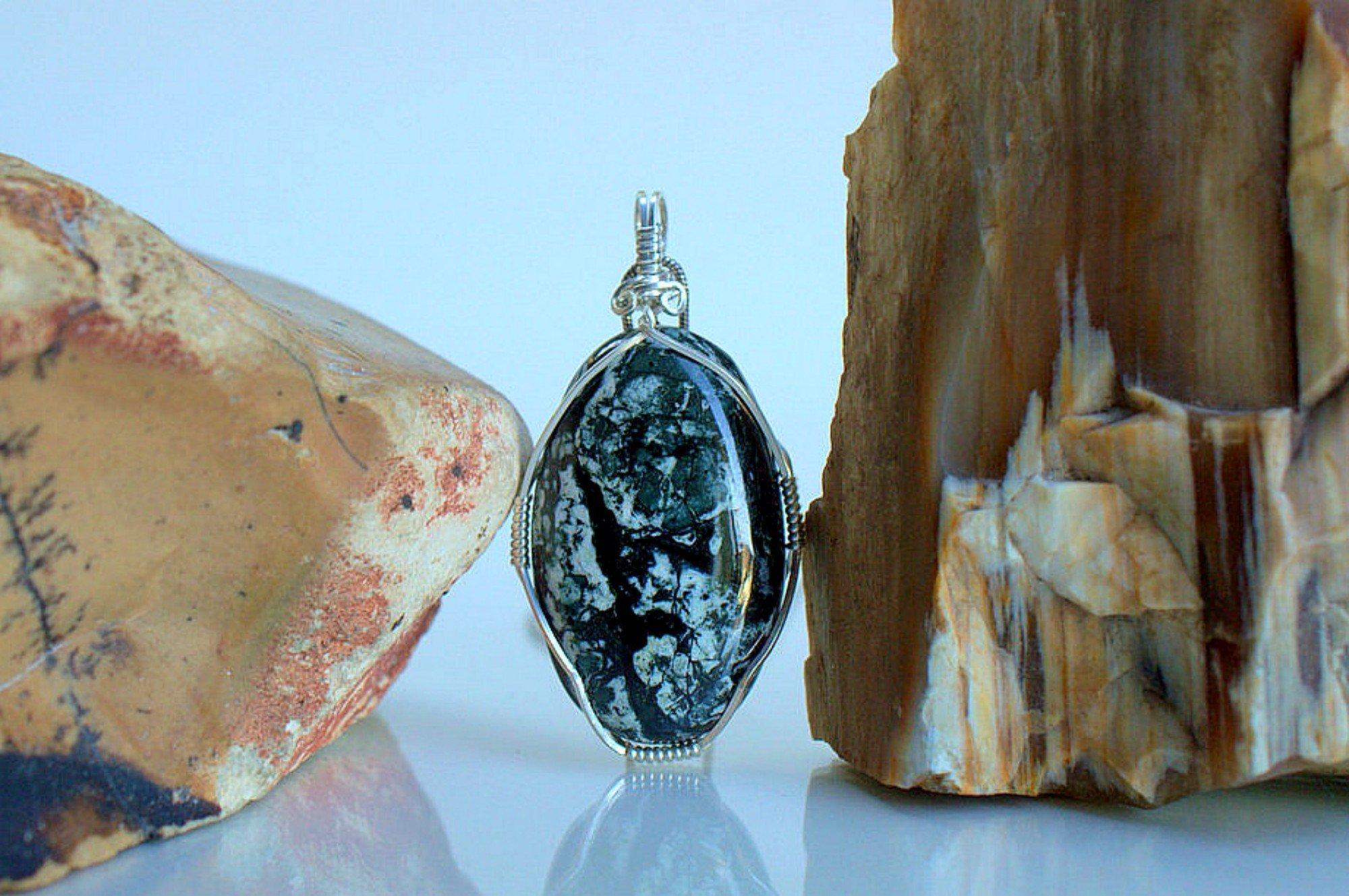 Black and white stone, Dallasite pendant handmade jewelry