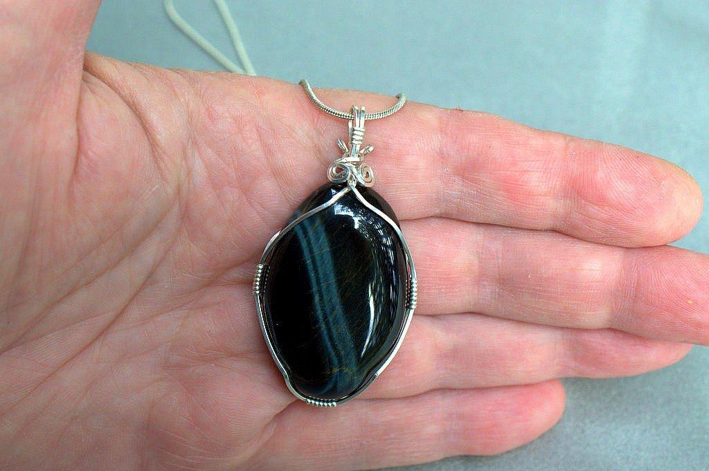 Blue Tiger eye necklace, oval shape pendant