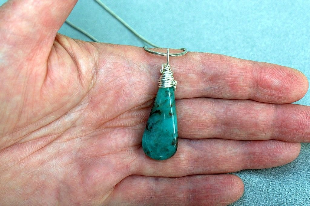 Semi precious gemstone, blue Chrysocolla necklace