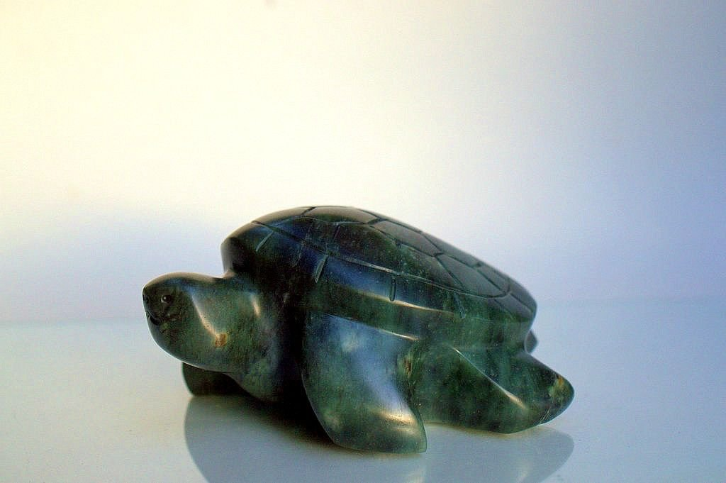 Hand carved turtle,green soapstone figurine
