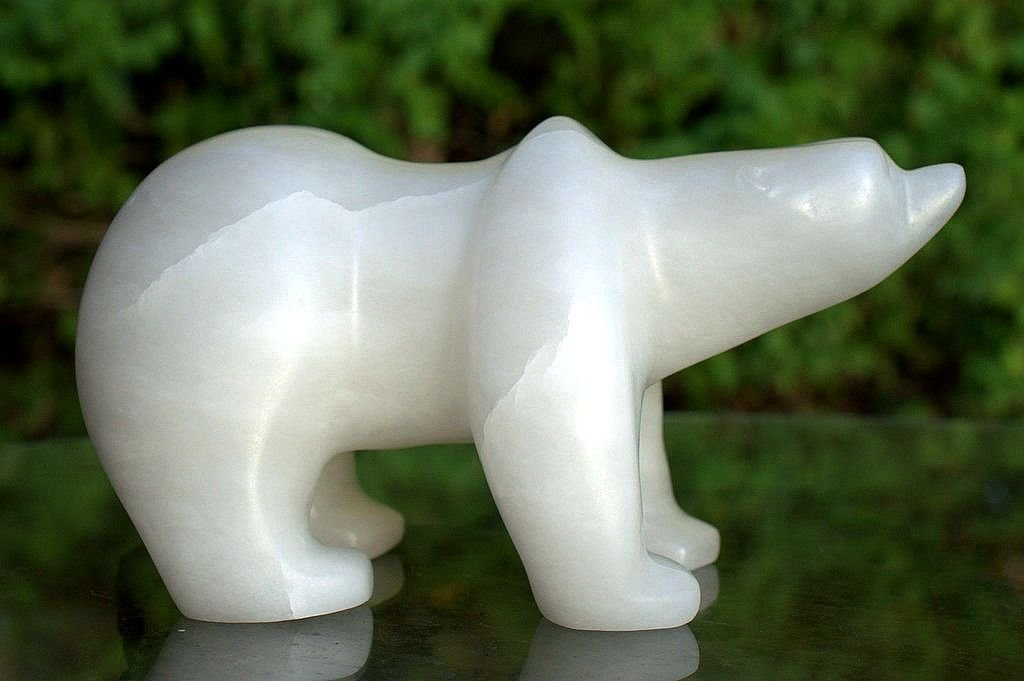 Walking polar bear,  hand carved alabaster figurine