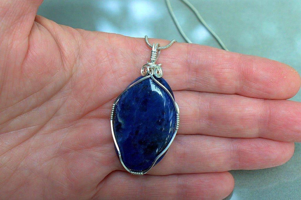 Blue stone jewelry, Sodalite necklace