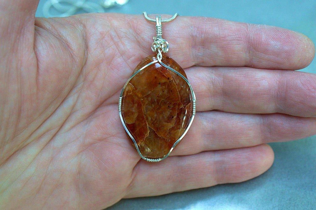 Carnelian necklace, large agate stone pendant