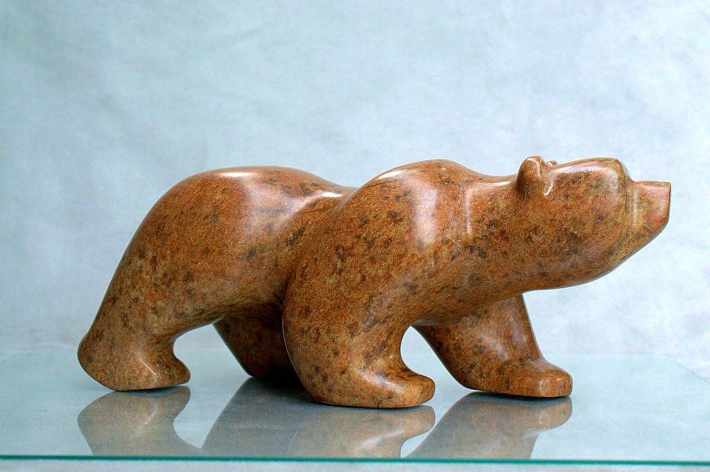 Minimalist style, soapstone bear carving