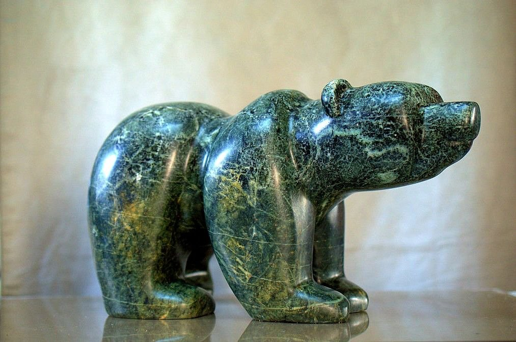 Large soapstone bear, hand carved minimalist style sculpture