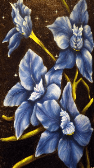 Larkspur flower painting, on gallery wrapped canvas |sagastone