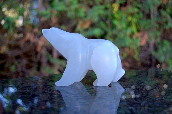Alabaster walking polar bear