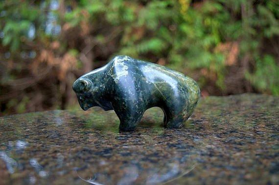 Bison hand carved figurine
