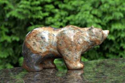 Brown soapstone bear figurine