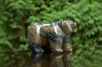 Fat stone bear figurine
