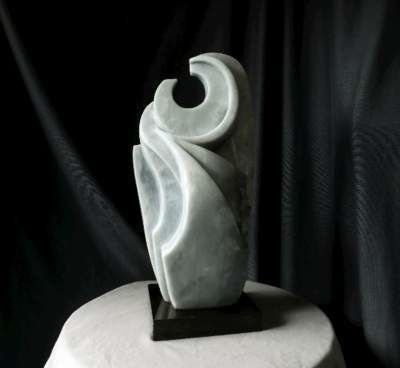 Anhydrite Owl abstract sculpture