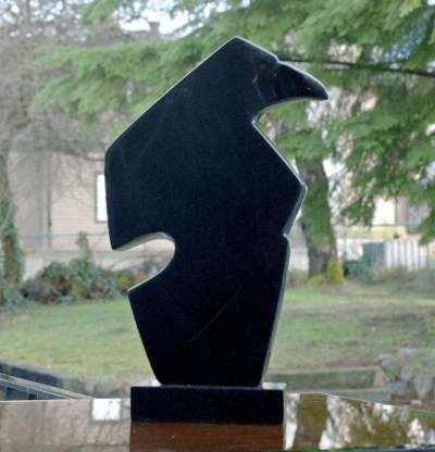 Black Chlorite Raven sculpture