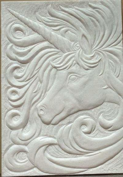 Marble hand chiseled relief