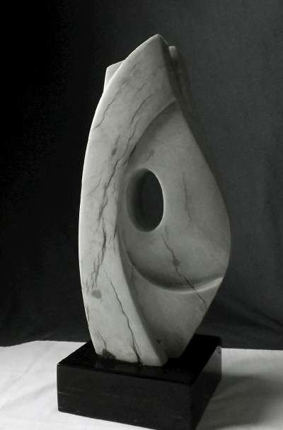 Gray abstract stone sculpture