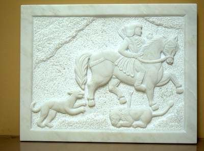 Marble hand chiseled stone panel.