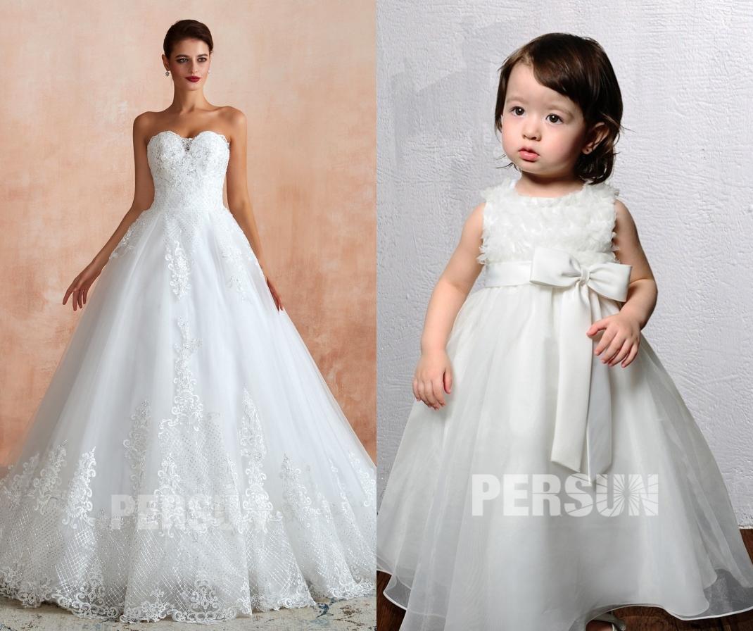robe de mariée bustier coeur en dentelle appliquée et robe fille fleur plumé
